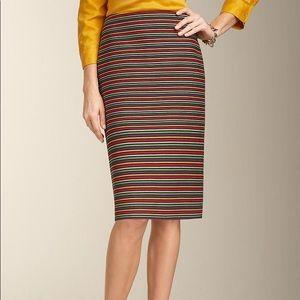 Talbots corded rainbow-striped pencil skirt